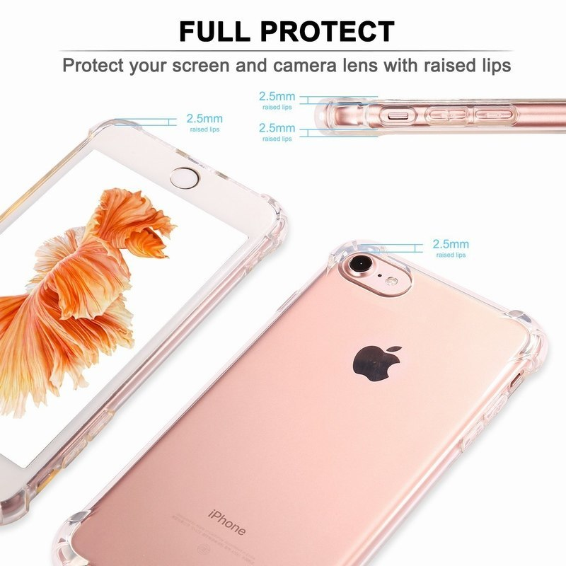 Ascromy For iPhone 7 Case Crystal Clear Shockproof Cover Transparent Soft TPU Cases for Apple iPhone 8 Plus X 6 6S 5 5S SE Coque (3)