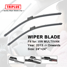 "Wiper Blade for VW MULTIVAN T5 T6 (2013-Onwards) 1set 24""+24"",Flat Aero Windscreen Wiper Frameless Windshield Soft Wiper Blade"