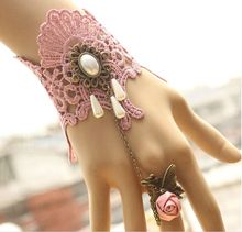 On Sale~Fashion Pink Lace & Flower Resin Diamond with Ring Bridal Gloves/One Piece Wedding Hand Ornament/Bride Bracelet 1195