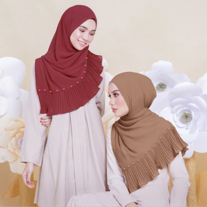 10pcs/lot Beads Patchwork Pleat Pearl Bubble Chiffon Scarf Shawls Hijab Drape Stitching Crinkled Muslim Scarves Shawls 23 colors