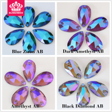 Blue zircon AB, Dk. Amethyst AB, Lt. Amethyst AB, Black Diamond AB Teardrop Sew On Rhinestones Sewing Stone for Garments Y3069
