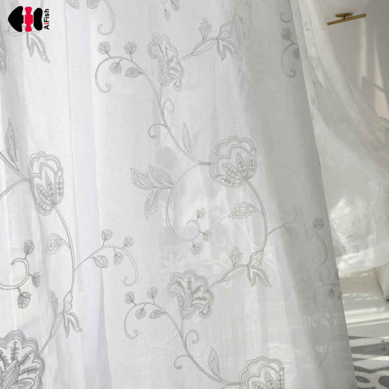 Rustic Style Embroidery Flower Finished  Organza Voile Tulle Fabric Curtains White Curtains For Living Room Bedroom WP144D