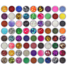 72 Colors Spangle Glitter Nail Art Paillette Acrylic UV Powder Polish Tips Set F822(China)