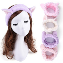 Cute Elastic Cat Ears Headbands for Women Girls Makeup Face Washing Headband Hairdo Facial Mask Headwrap Hairband Hair Accessory(China)
