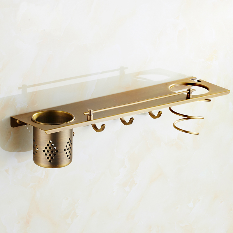 Antique European style copper wall mounted bathroom shelves square Multifunctional storage rack with hair dryer shelf and hooks<br>