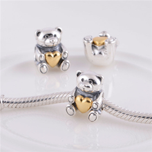 LW282 925 Sterling Silver Screw Hole Charm DIY Bead, Teddy Bear with Golden Heart Suitable for Pandora Bracelet snake Chain
