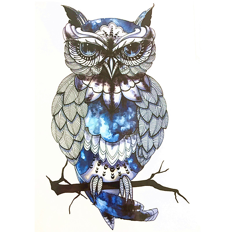 Image 2017 Blue OWL SO COOL NEW ARRIVAL 21 X 15 CM Temporary Tattoo Stickers Temporary