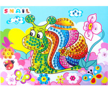 1 Sheet Hand Made Stickers 3D DIY Mermaid Snail Bear Diamond Sticker Painting Early Learning Educational Toys for Kids