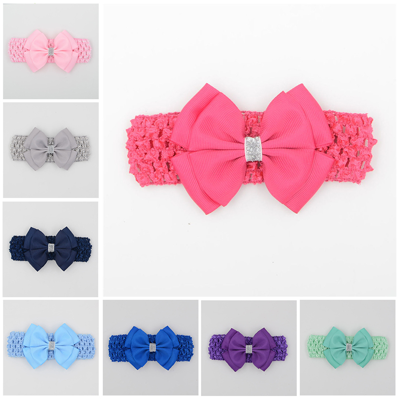 hair elastic bands ribbon bows kids head wraps accessory headbands satin flower hairband headwrap(China (Mainland))