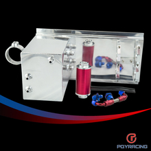 PQY RACING- 5L Aluminum fuel surge tank/fuel tank/fuel cell 5L polished AN fittings + pump mount + filter + hose  PQY- TK45