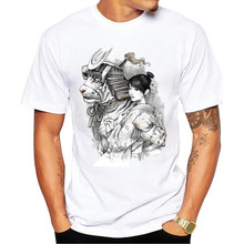 2017 Summer Fashion Men's T Shirts O-Neck Samurai Tiger Printed Short Sleeve T Shirt Mens Clothing Trend Casual Slim Fit Top Te