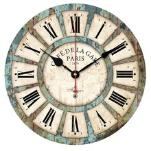 New European Style Vintage Creative Round Wood Wall Clock Quartz Bracket Clockorologio parete Smile