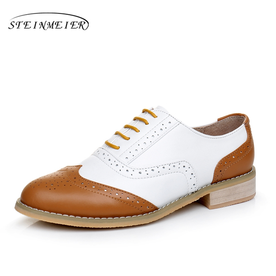 Woman cow leather oxford flats shoes US size 11 designer vintage brown white handmade 2017 oxford shoes for women with fur<br>