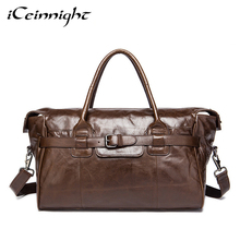 iCeinnight Men Travel Bags Genuine Leather Men Shoulder Bag Large Capacity Luggage Travel Totes Bag Casual 14inch Laptop Handbag
