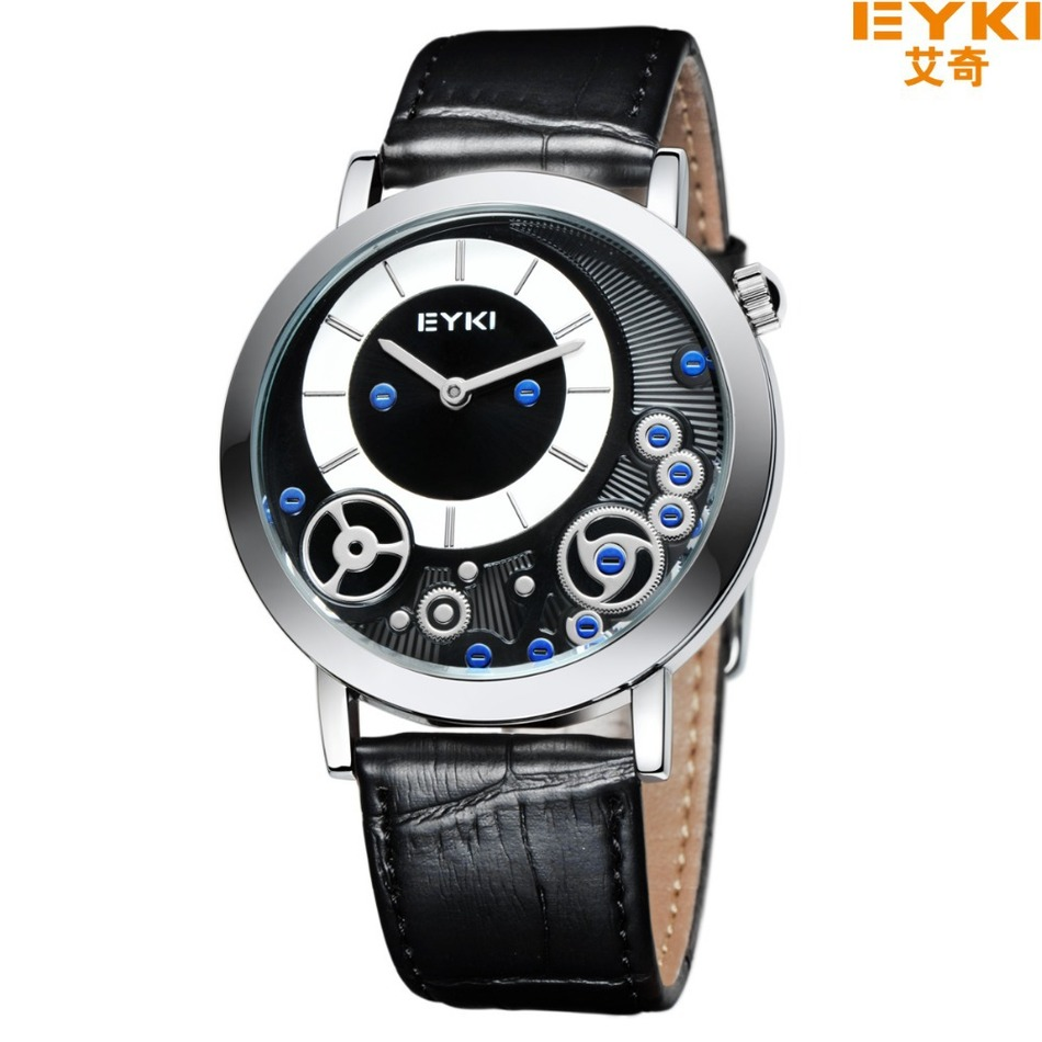 Hot sale Two Hands EYKI Watch Brand Leather Watches Dual Time Digital Japan Movement Quartz Analog Watches Waterproof Wristwatch<br><br>Aliexpress