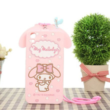 3D My Melody Hello Kitty Pink Soft Silicone Case Cover For Huawei Ascend Y6 Honor 4A Rubber Skin Back Cases Covers With Lanyard