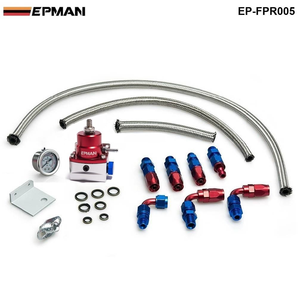 EPMAN- Universal Injected Fuel Pressure Regulator Kit Liquid Gauge With Oil Fitting Fit For BMW 3 E30 m-technic 318i EP-FPR005