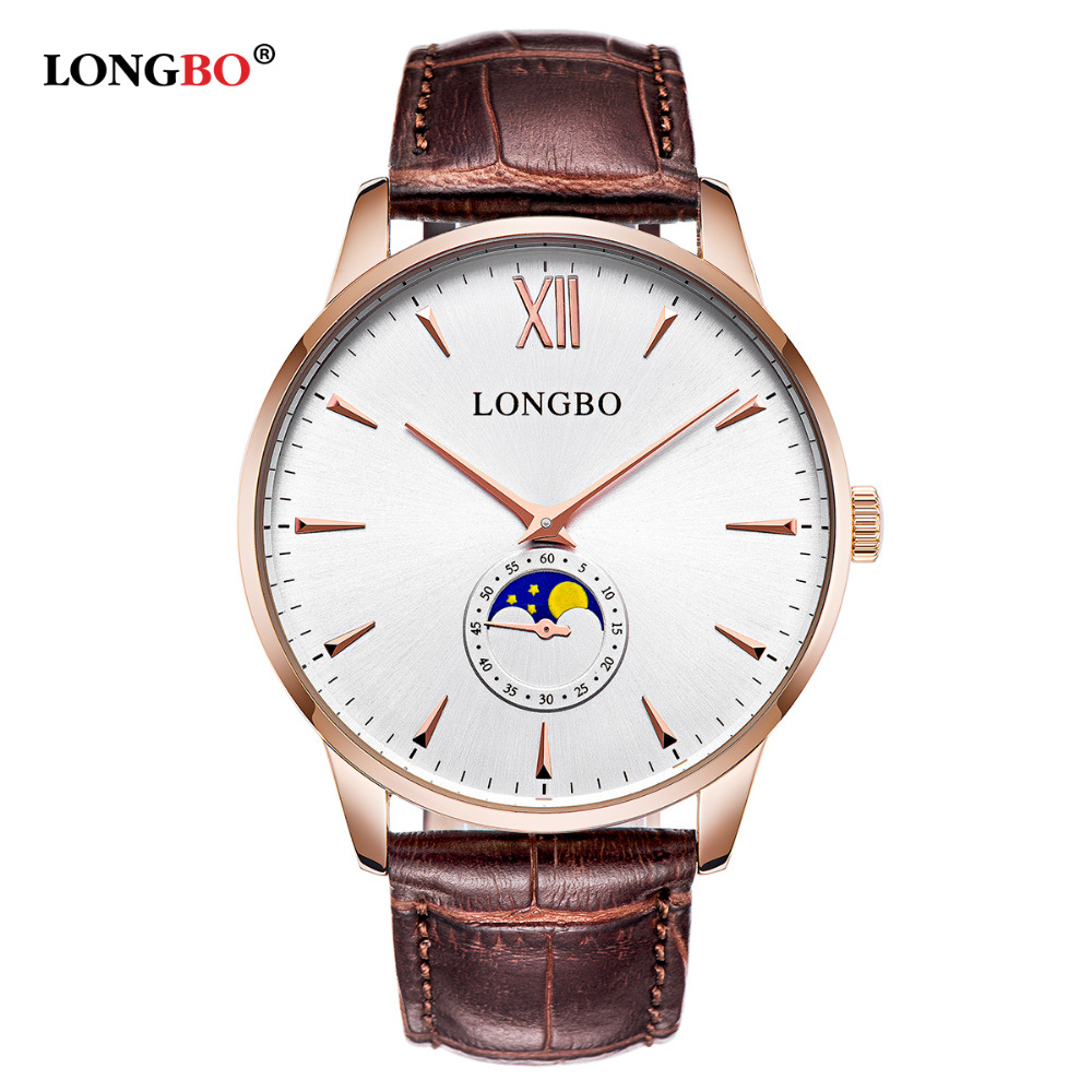 2017 Top Luxury LONGBO Brand New Design Men Women Watch Business Leather Lovers Watches with SUN STARS Shift Reloj Hombre Muje<br><br>Aliexpress