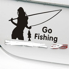 1x Girl Styling Car Stickers Go Fishing Outdoor for Car Accessories Decoration(China)