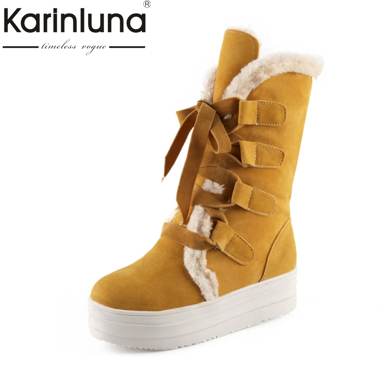 KARINLUNA large size 34-43 thick bottom flat heel women shoes casual lace up add warm fur woman snow boots black yellow<br>