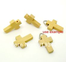 Free Shipping 120pcs/lots DIY accessories Natural Cross shape Wood Spacer Beads 22x15mm(China)