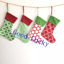 50pcs/lot monogram personalized canvas Christmas stocking mixed colors wholesale Christmas tree decoration socks stocking