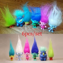 6pcs/set Trolls Magic Long Hair Dolls Movie Poppy Branch Biggie PVC Action Figures toys baby kids Cartoon Model Collection gifts