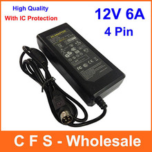 1pcs AC adapter 12V 6A 72W Charger 4 PIN 4-Pin Switching Mode dc power supply For LCD TV(China)