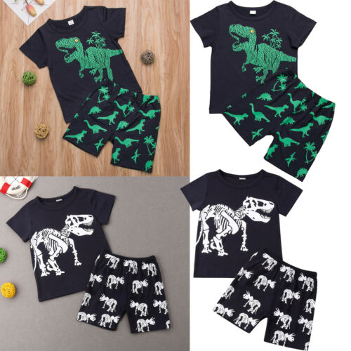 2Pcs Infant Kids Baby Boys Dinosaur Vest Tops+Shorts Outfits Clothes Suit