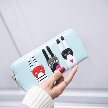 2017 New Arrive Women's Purse Fashion Ladies Leather Cute Cat Pattern Zipper Thin Coin Purse Long Wallet Card Holders Handbags