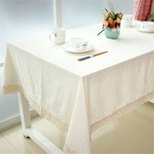Chinese style Cotton Waterproof Oilproof White Table Cloth High Quality Pure White Tablecloth Apply Outdoor Home Hotel Banquet