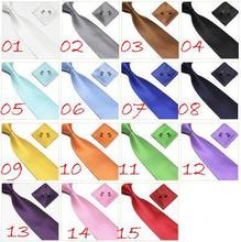 neck tie set necktie hanky cufflinks soid color men's ties sets Handkerchiefs Pocket square tower cravat