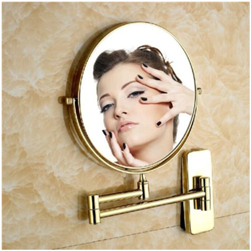 6 and 8 Dual Sided Wall Mount Folding Make-up Mirror Gold Plating Double Side<br>