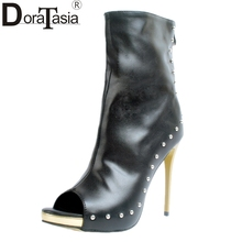 DoraTasia brand new big size 34-47 cosplay summer boots women shoes sexy peep toe platform thin high heels ankle boot party cool