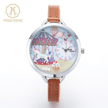 2016 new MISS KEKE clay cute 3D mini world children's Bracelet girls watch kids Relogio Feminino Women leather Wristwatches 910(China)