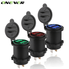Onever LED 4.2A Dual 2 USB Socket Car Phone Charger Power Adapter Outlet Power 12-24V Chargers for Truck ATV Boat Motorcycle(China)