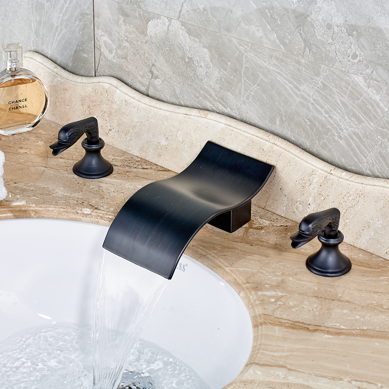 Oil Rubbed Bronze Deck Mount Two Handles Swan Basin Faucet Bathroom Sink Mixer Tap 3 holes Waterfall Spout<br><br>Aliexpress