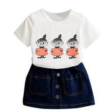 2-7Y Fashion Child Girls Cloth Sets Casual Clothing Summer Print T Shirts + Jeans Skirts Suits 2PCs Costume Set A