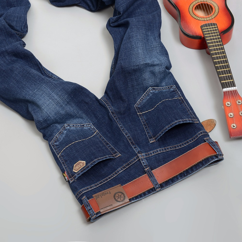 2017 Autumn Winter Stretch  Jeans Fashion Mens Jeans Casual Trousers Straight Denim Jeans Blue Color Brand  Jeans Big size 42Одежда и ак�е��уары<br><br><br>Aliexpress