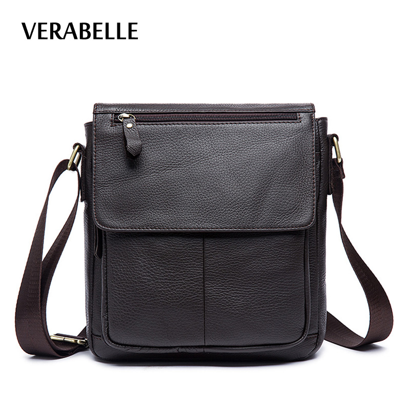 VERABELLE high quality fashion mens casual shoulder 100% full-grain cowhide genuine Leather business messenger bags<br>