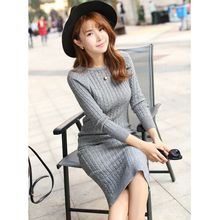 Women Long Sweater Dress Autumn Sexy Slim Bodycon Red Dresses Elastic Skinny Split Brief Knitted Dress vestidos WD15