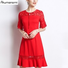 Buy Summer Lace Patchwork Dress Women Clothing Lace O-neck Flare Half Sleeve Butterfly Hem Dress Plus Size 5XL 4XL 3XL 2XL XL L M for $31.15 in AliExpress store
