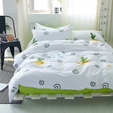 100% cotton white plant print duvet cover set queen king size adult bedding set,green solid color bedspread coverlet pillow case