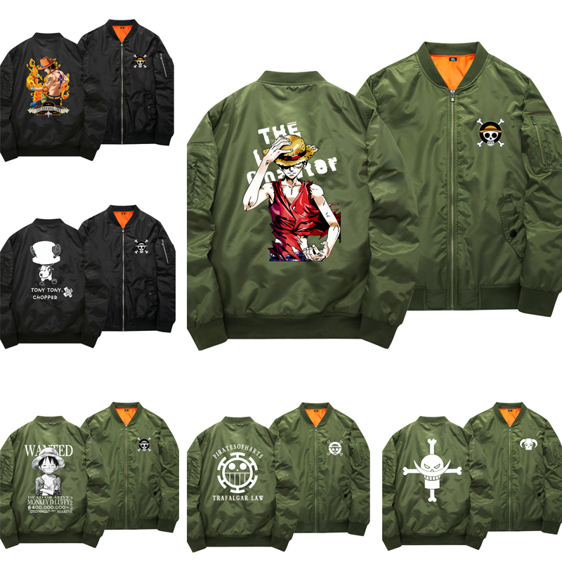 ONE PIECE Bomber Jacket Luffy Chopper Cosplay Anime Coat Jacket Sweater Cotton Thick Hoodie Zipper light Trafalgar Law