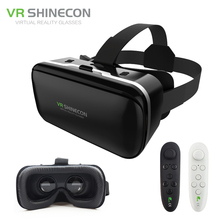 New! VR Shinecon 6.0 Leather Big Lenses Virtual Reality Google Cardboard Helmet 3D Glasses Mobile Headset for Iphone 4.7-6'Phone(China)
