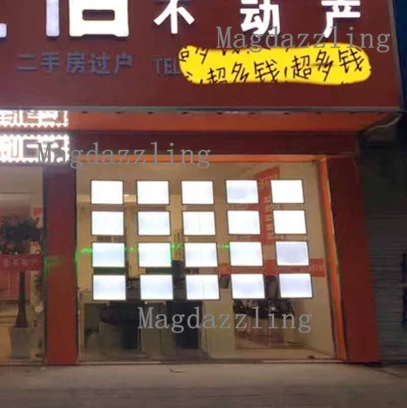 Real Estate LED Window Display A4 Double Sided Acrylic Frame Light Box Shop Window Cable Wire LED Display System Kits(China)