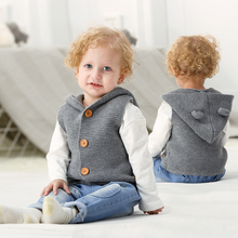Cute Newborn Baby Clothes Cartton Bear Infant Boys Girls Sweaters Coats Autumn Toddler Kids Hooded Sleeveless Knitwear Cardigans