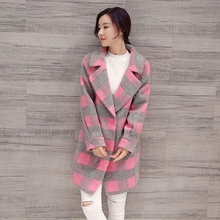 High Quality Hot 2017 Fashion Pink Plaid Women Wool Blend Trench Coat Warm Cashmere Winter Woolen Long Jacket Thick Outwear P991