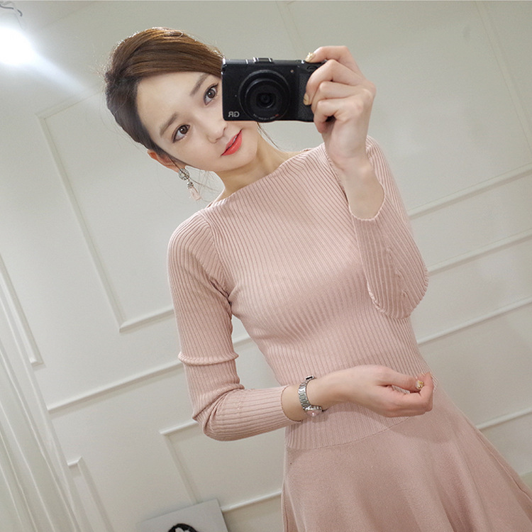 2017 Autumn & Winter Women Knitted Dress Korean Fashion Slim Solid Color Elastic Long-sleeved Knitted Sweater A-line Sexy Dress