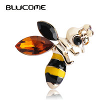 Blucome Yellow Black Bees Brooches Women Girls Hat Shoulder Jewelry Enamel Alloy Brooch Scarf Collar Suit Clips Gold-color Pins(China)